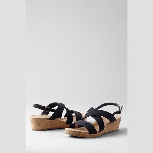 9d41712d247 Lands  End Shoes -  Land s End  Perri Low Wedge Cork Sandal